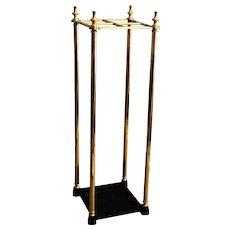 English Brass Umbrella & Walking Stick Stand, C.1920