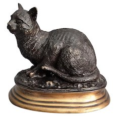 French Bronze Cat Sculpture, Signed Mene