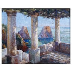 French Impressionism Signed Oil Painting, Terrace View Capri, Dated 1936
