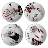 French Gien Games Plates, Set of 4, Canapes, Desserts, Hors d'oeuvre (3 Sets Available)
