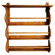 Antique English Hanging Pine Plate Rack Shelf