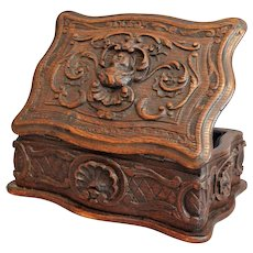 Antique Large Black Forest Box, Hand Carved