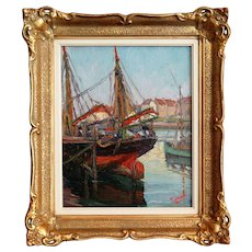 Early 20th-Century Dutch School Impressionism Oil Painting, Signed