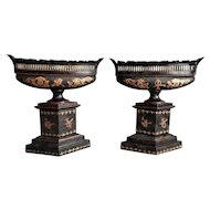Antique Italian Tole Urns, Pair