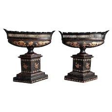 Antique Italian Tole Urns, Pair