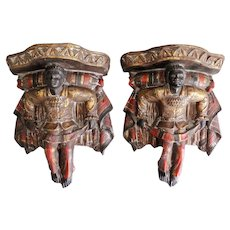 Venetian Polychrome Blackamoor Wall Brackets Shelves, Pair