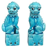 Chinese Ceramic Turquoise Foo Dogs Figurines, Pair