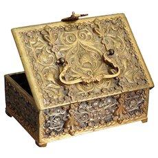 Antique French Bronze Ropousse Box Art Nouveau