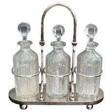 Silver Plate & Crystal Liquor Tantalus, 3 Bottle