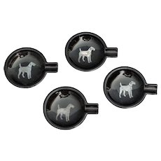 Terrier Dog Black Ashtrays, Set of 4