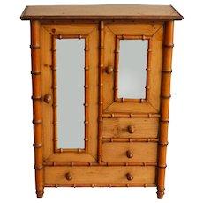 Diminutive Faux Bamboo Armoire, Miniature Dollhouse