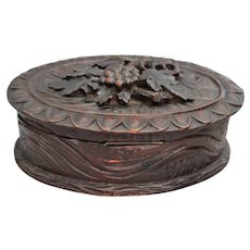 Hand Carved Walnut Black Forest Box
