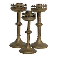 Antique French Brass Altar Candlesticks, Set of 3