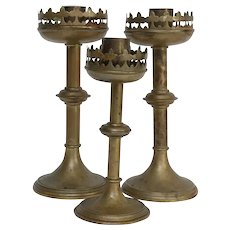 Antique French Brass Altar Candlesticks, Set of 3