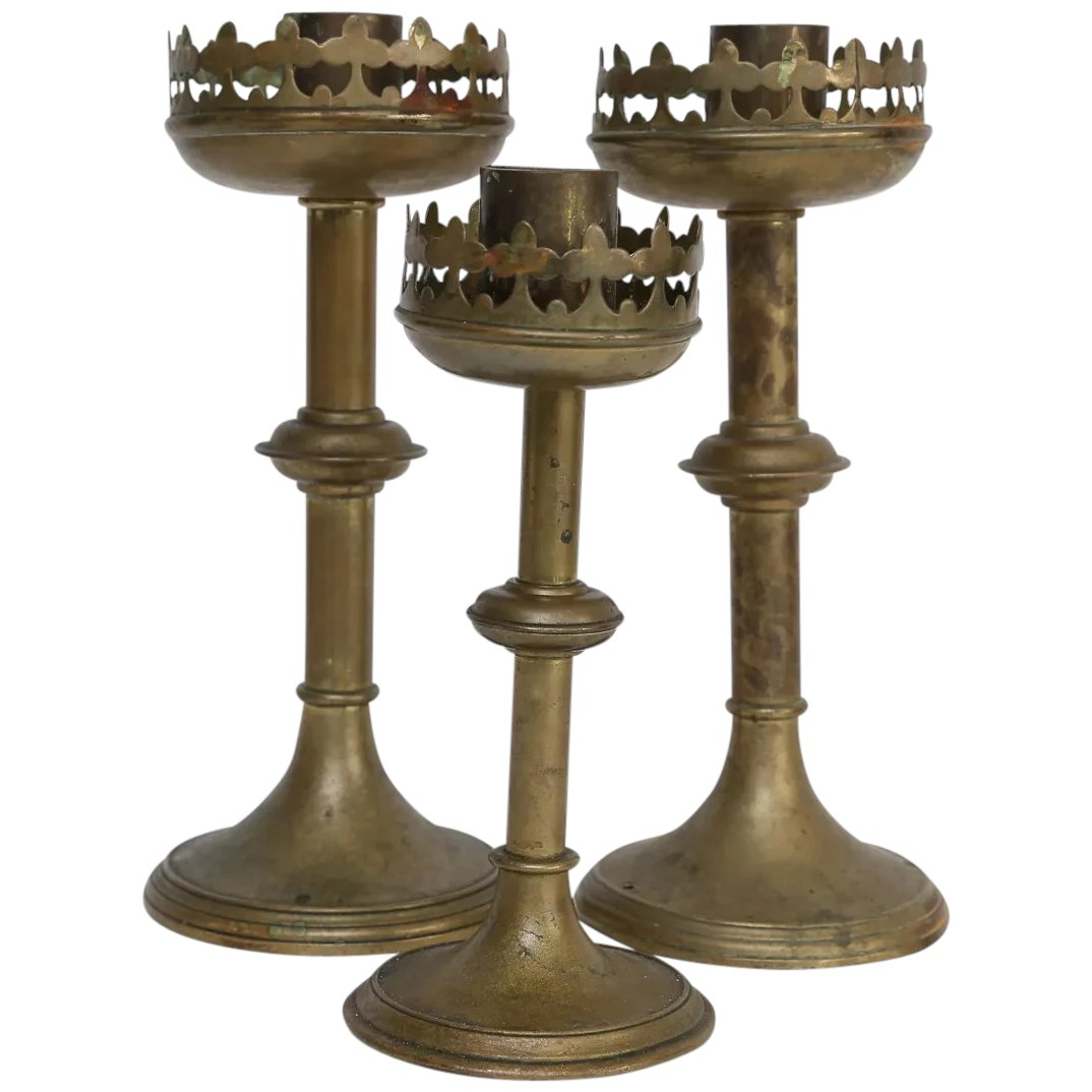 Antique French Br Altar Candlesticks