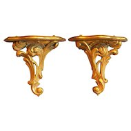 Carved Italian Giltwood Wall Brackets, Pair