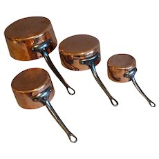 Early 20th-Century English Copper Pans, Pots, Set of 4