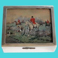 Antique English Equestrian Sterling Silver Table Box, Hallmarks