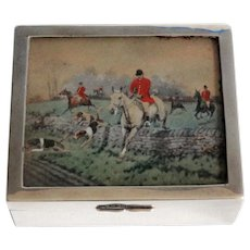 Antique English Equestrian Sterling Silver Table Box, Hallmarks
