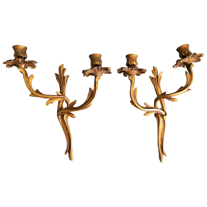 French Bronze Candle Wall Sconces Pair