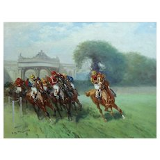 French Horse Racing Oil Painting, E Pechaubes