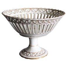 Old Paris Porcelain Footed Compote Vieux