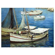 Boats at Sunset Oil on Canvas, Gustave Vidal, French