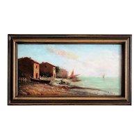 Nautical Oil Painting 'On the Coast' Louis Nattero (1875-1915)