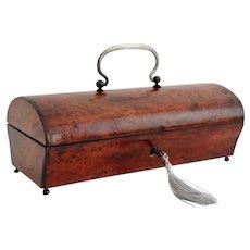 19th-Century French Amboyna Wood Casket Antique Box, Lock & Key