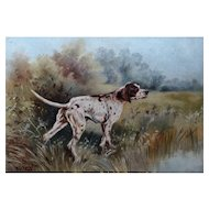 Antique French Oil Painting Sporting Dog, C Roche