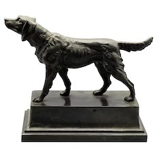 Antique French Sporting Dog Sculpture, Figural Statue Setter Spaniel