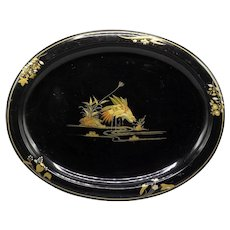 Antique Chinoiserie Tole Serving Tray with Storks