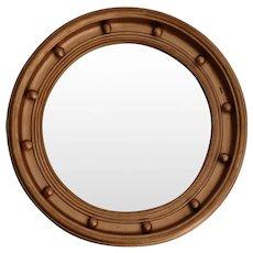 Art Deco English Bullseye Round Convex Mirror