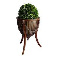 Antique English Mahogany Tripod Bucket Wine Cooler Jardiniere