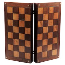 Antique English Inlay Chess Checkers Folding Games Box