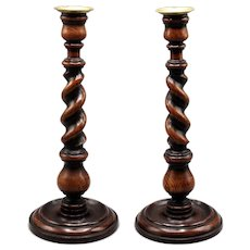 "Antique English Oak Twist Candlesticks, Pair 14"" Tall"