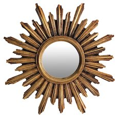 Mid Century French Gilt Convex Sunburst Mirror