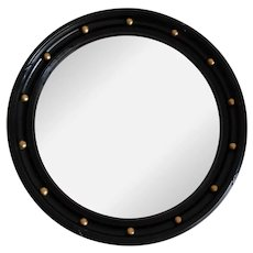 Art Deco Circa 1930's Ebonized English Round Convex Bullseye Mirror