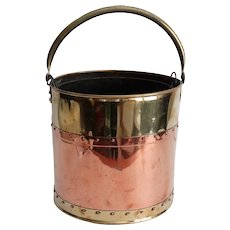 Antique English Brass & Copper Bucket, Wine Cooler, Jardiniere