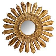 Gilt Continental Convex Sunburst Mirror