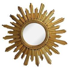 Large Continental Gilt Wood Convex Sunburst Mirror