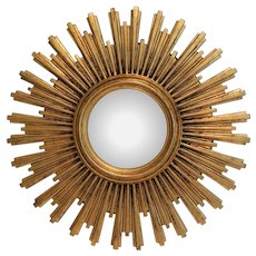 Mid Century French Convex Sunburst Mirror