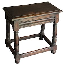 Antique English Oak Joint Stool Pegged