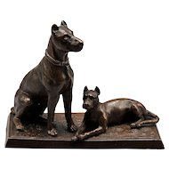 Antique French Bronze Dog Sculpture Figural Statue
