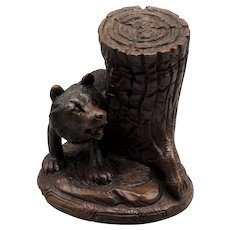 Black Forest Carved Bear Ashtray, Catch-All & Match Holder