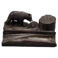 Black Forest Carved Bear Desk Caddy Inkwell Pen Tray