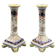 French Faience Candlesticks, Pair Hand Painted