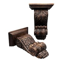 Antique Carved Solid Walnut Wall Brackets, Pair