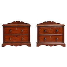 Antique English Miniature Mahogany Chests, Pair