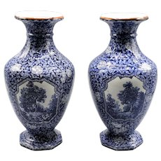 Villeroy & Boch 'Flamand' Pattern Vases, Pair Delft Blue